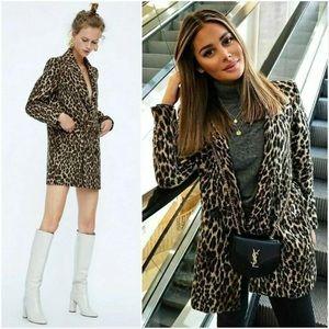 Zara Animal Print Jacquard Double Breasted Coat